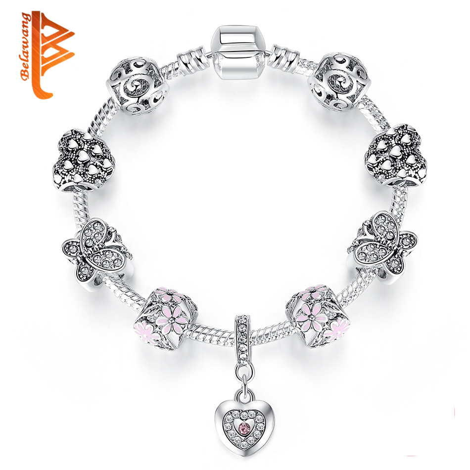 BELAWANG Antique Silver Charm Bracelet & Bangle for Women Love Heart & Flower Crystal Women Bracelet Wedding Mother's Day Gift