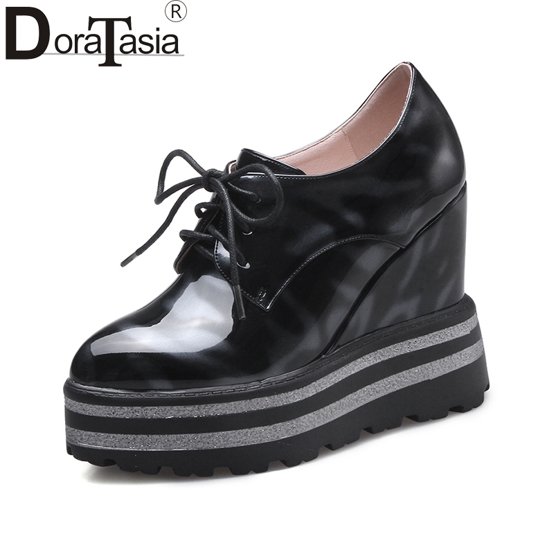 DoraTasia 2018 High Quality Round Toe Lace Up Women Pumps Platform Wedge High Heels Shoes Woman Comfortable Fashion Shoes nayiduyun women genuine leather wedge high heel pumps platform creepers round toe slip on casual shoes boots wedge sneakers