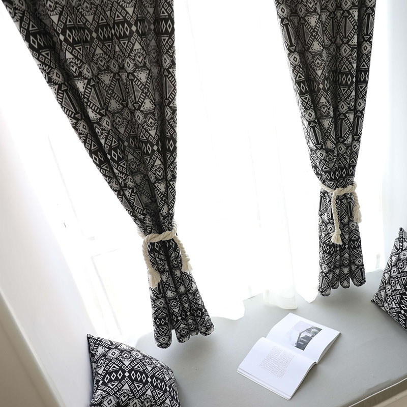 Image 3 - Creative Modern Geometric Print Blackout Curtain for Livingroom Bedroom Home Decor Shading Window Treatment Drape Blind Cortina-in Curtains from Home & Garden