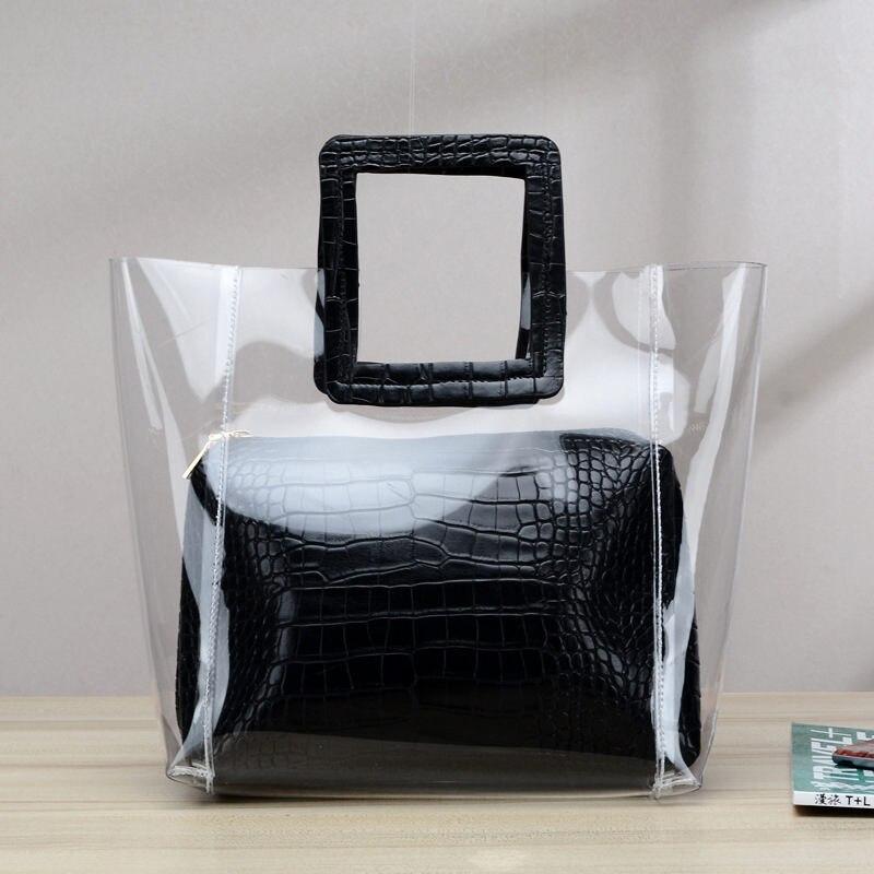 Plage Sauvage Portable 3 Coréenne Motif Transparent Crocodile 1 Ha 2 2018 Nouvelle Messenger 4 Sac De Femelle La Gelée Version Pqv4fw