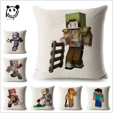Dicetak Minecraft Linen Cotton Cushion Cover Kartun Game Sofa Lempar Bantal Kasus Dekorasi Sarung Bantal Sofa 45x45 cm Peiyuan