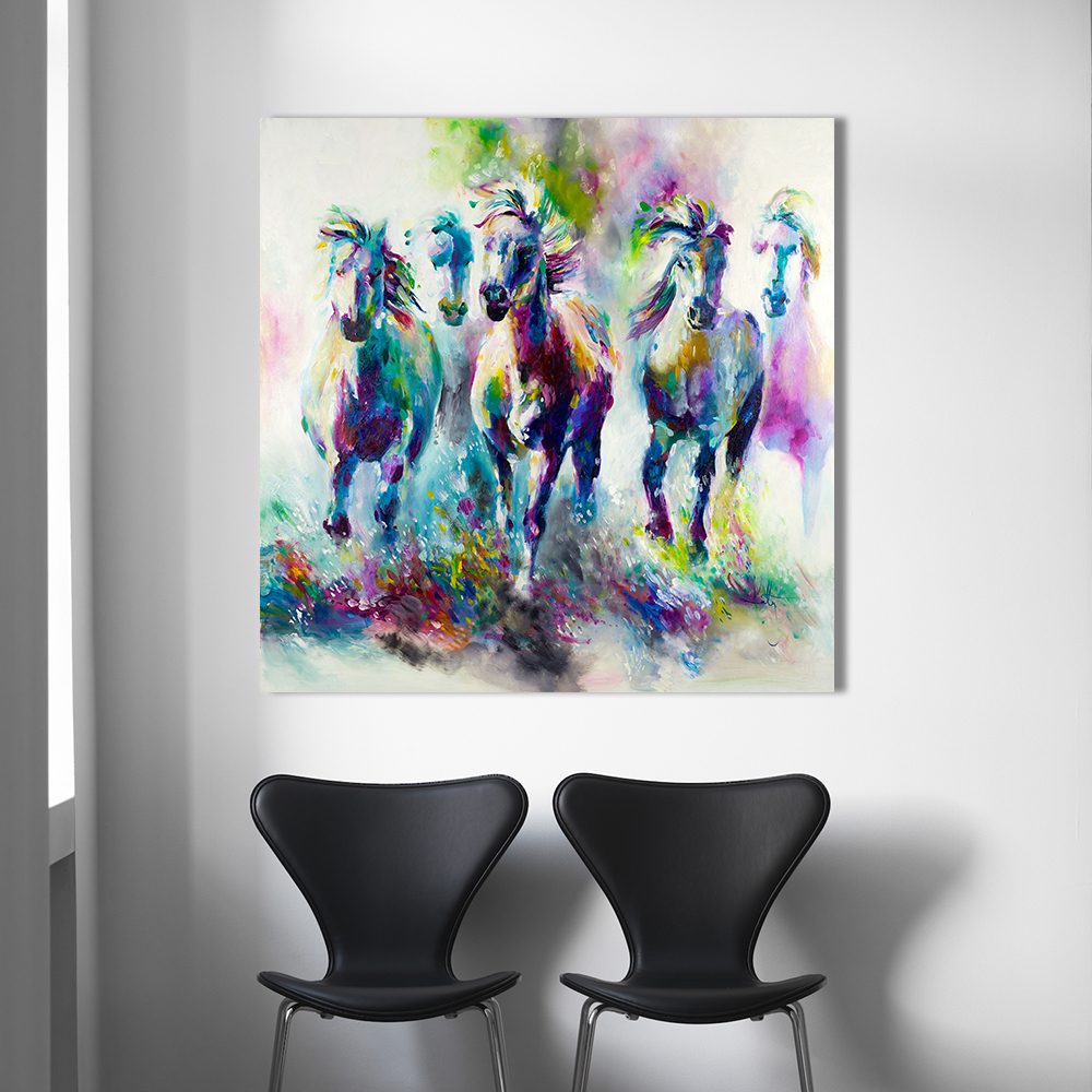 Hdartisan colorful wall decorations the running horses for Materials for canvas painting