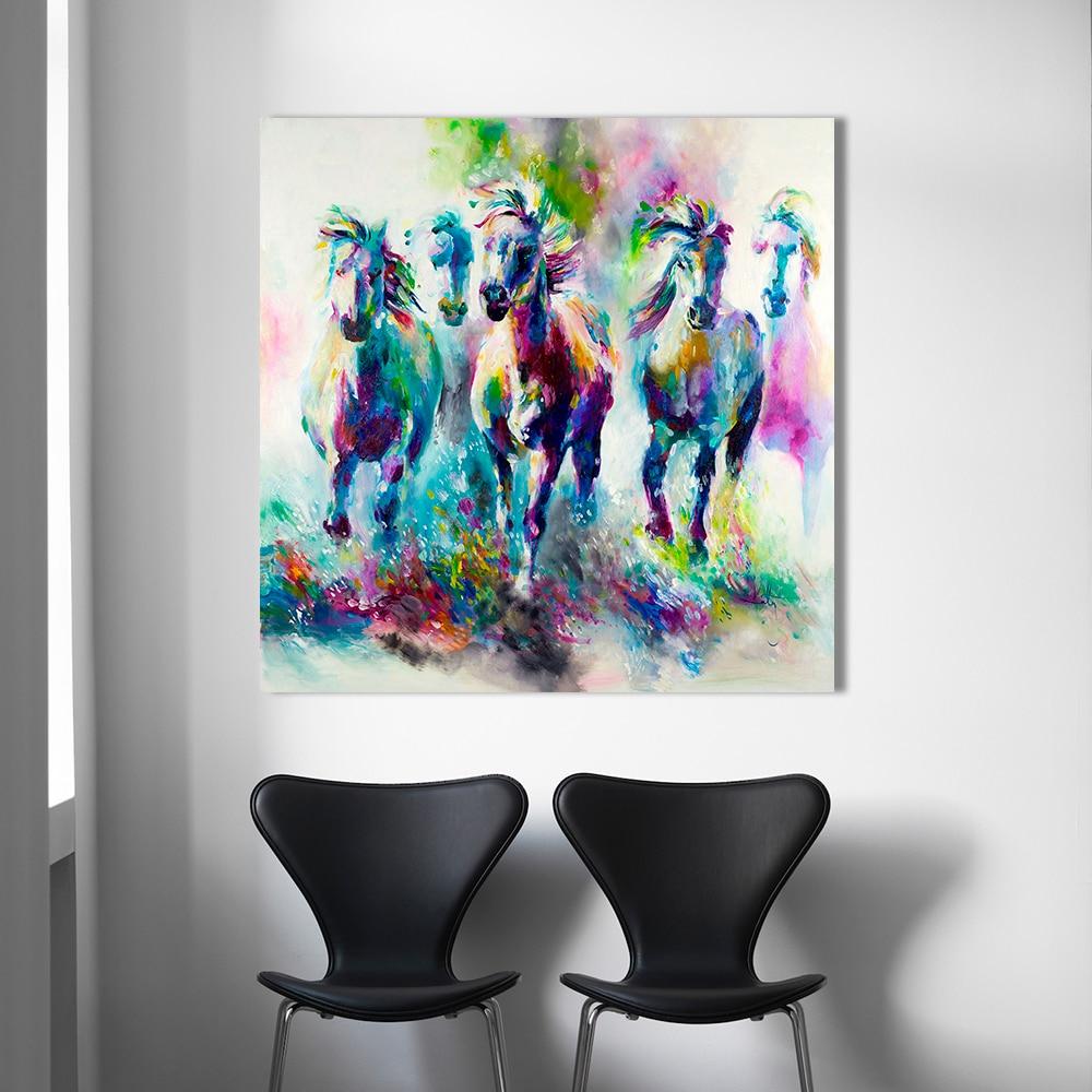 Hdartisan colorido decoraciones de pared el running Horses Canvas aceite material Pintura sobre tela impresiones arte de pared cuadros para sala