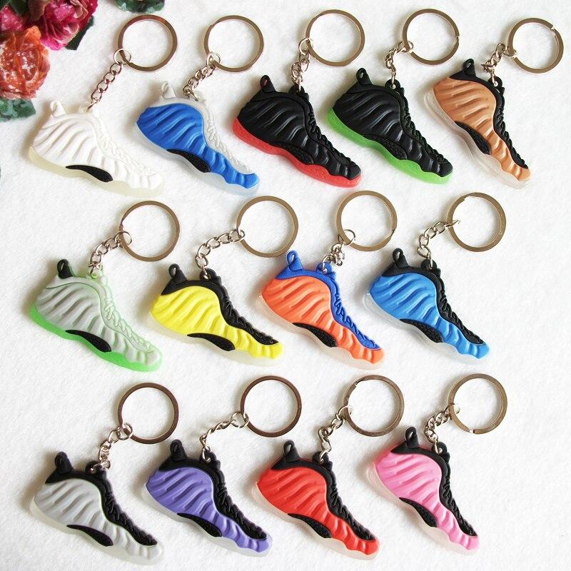 Мини-силиконовые foamposites брелок сумка очарование женщины брелок подарки тапки Key Holder кулон Интимные аксессуары Jordan Обувь брелок
