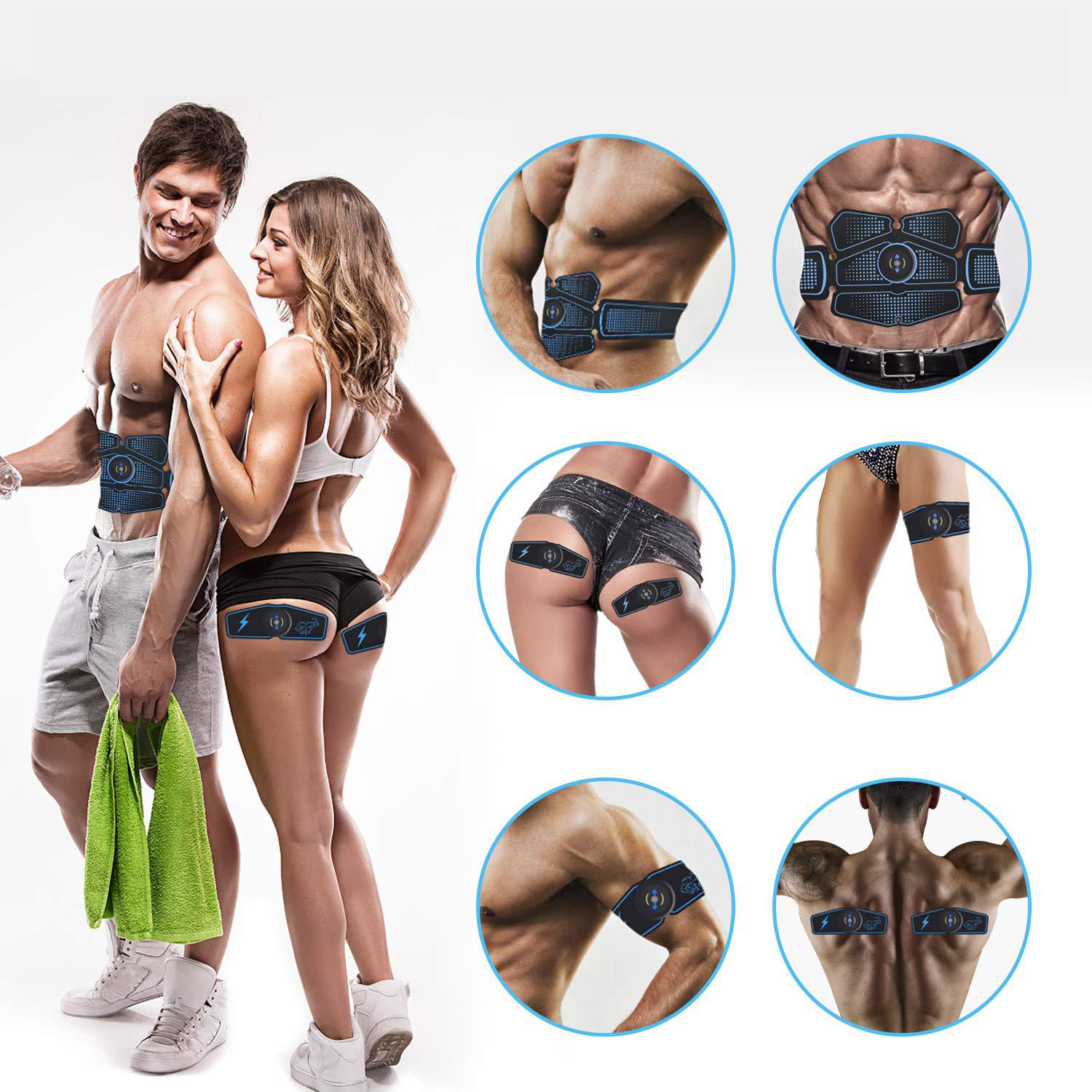 EMS Wireless Muscle Stimulator Trainer Electric Weight Loss Stickers Body Slimming Belt Smart ABS Fitness Abdominal Training Set
