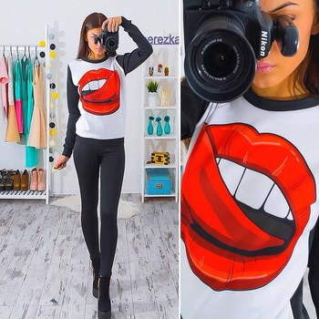2018 Fashion New Womens Autumn Long Sleeve Hoodie Sweatshirts Casual O-neck Red Lips Printed Loose Pullover Chemisier
