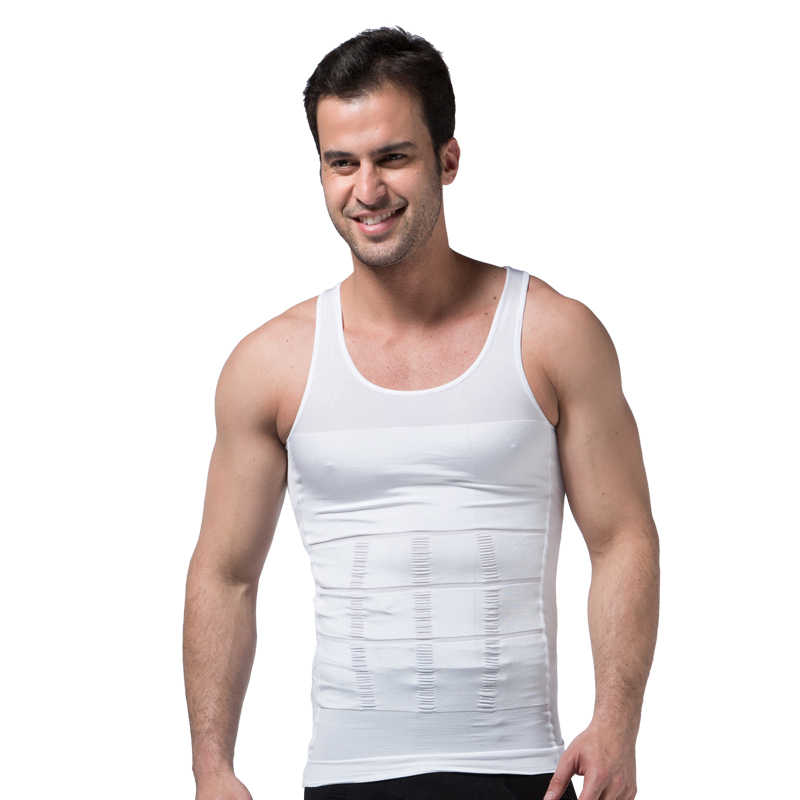 MONERFFI Men's Slimming Body Shapewear Corset Vest Shirt Compression Abdomen Tummy Belly Control Slim Waist Cincher Underwear