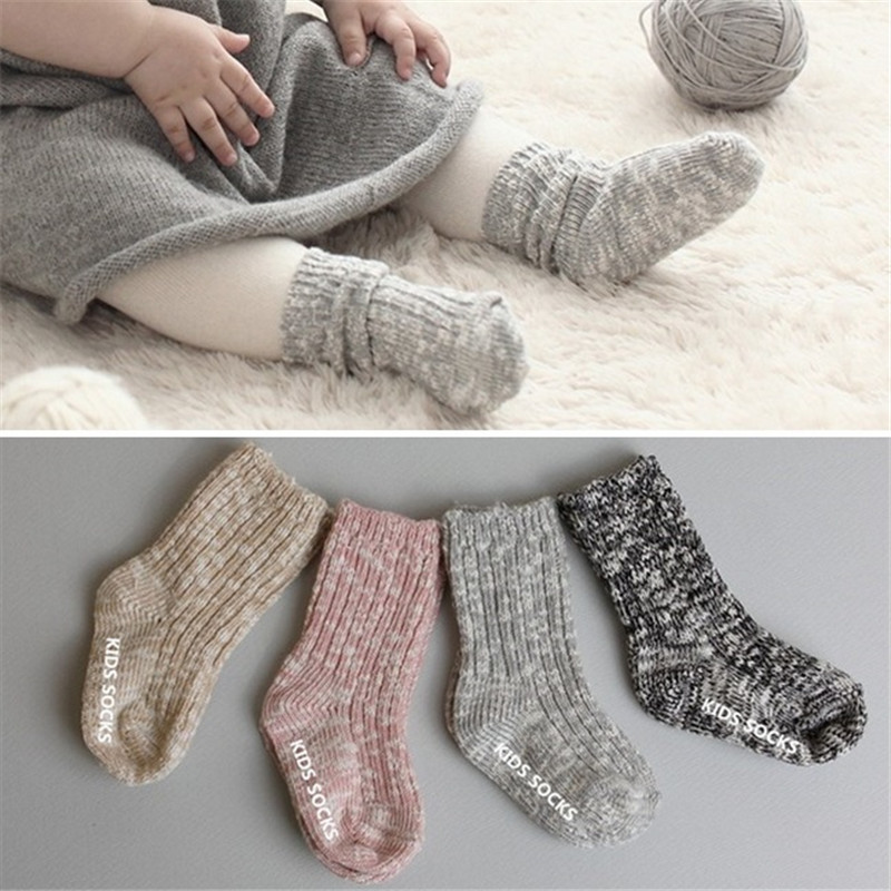 2-4 Years Old Baby Wool Socks Winter/autumn Anti-skid Bottom Baby Socks For Boys Fashion Simple Solid Baby Socks For Girls
