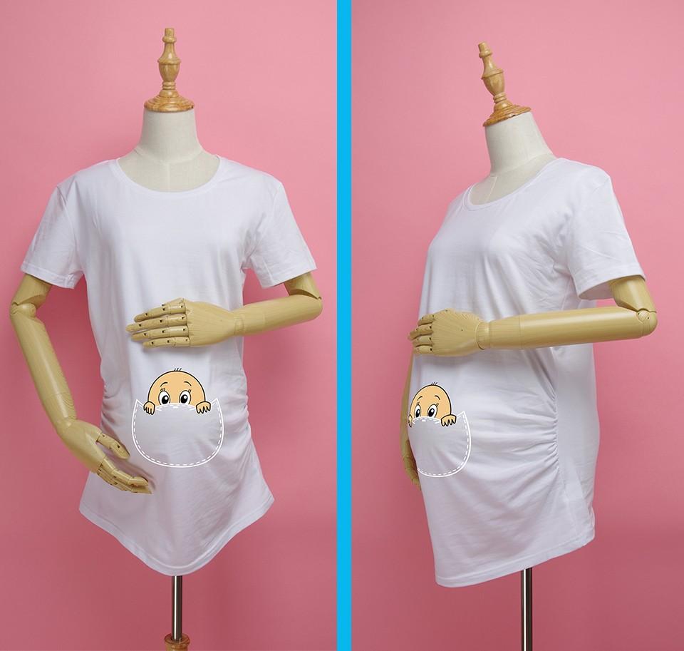 """""""Kieszonkowy dziecko siusiu boo"""" drukuj koszula ciążowa gravida top ciąży odzież tanie Tees Casual plus rozmiar XXL Darmowa wysyłka 11"""