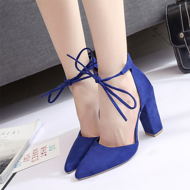 New Ankle Strap Women Pumps Lace-up Pointed Toe Summer Sexy Square High Heels Shoes Spring Autumn Ladies Red Dress Wedding Pumps sexy pointed toe high heels women pumps shoes new spring brand design ladies wedding shoes summer dress pumps size 35 42 302 1pa