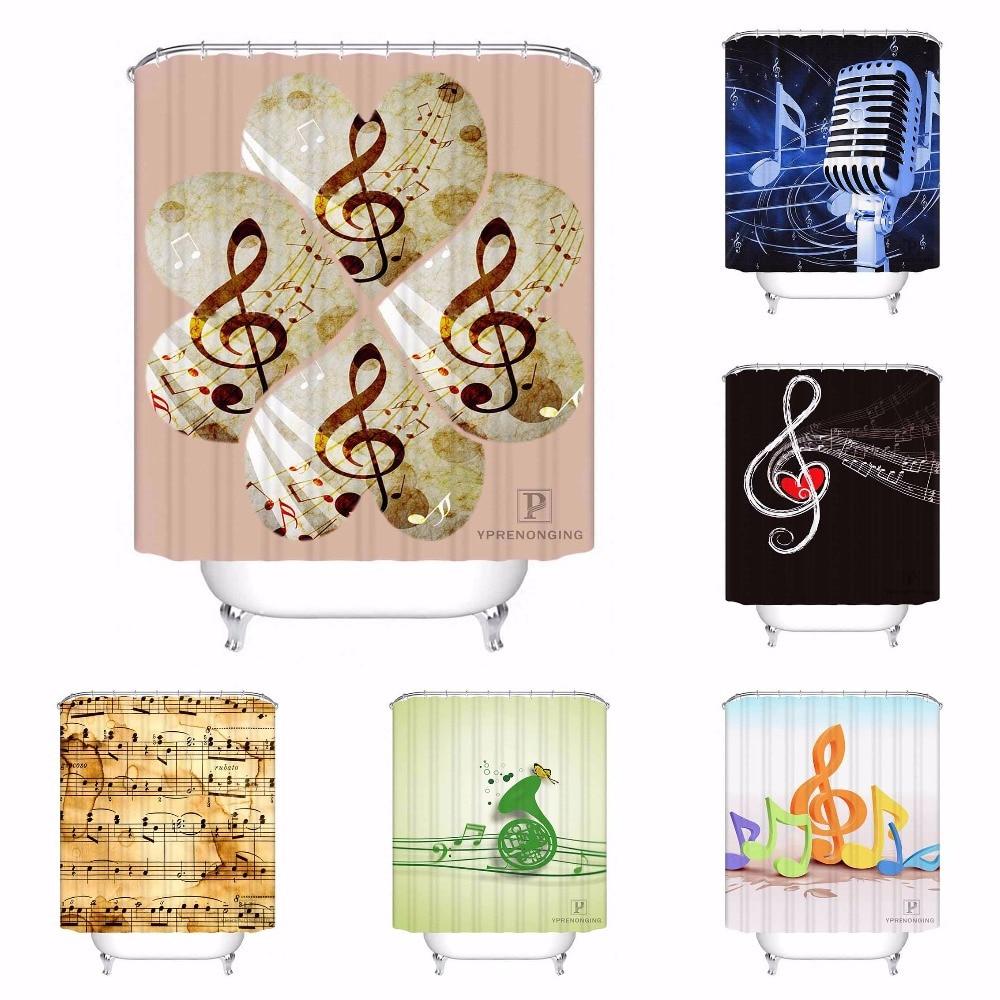 Custom Classic Musical Note Fashion Bathroom Acceptable Shower Curtain Polyester Fabric Bathroom Curtain #180320-01-159
