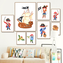 Boy Girl Pirate Treasure Hunt Ship Wall Art Canvas Painting Nordic Posters And Prints Cartoon Pictures For Kids Room Decor