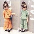 Новая детская Одежда Весна Геометрические Девушки Платье + Широкие ноги Брюки Покрыты 2 Шт. Комплектов Одежды Детская Одежда зеленый Orange