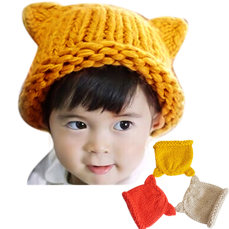 Knitted Beanies Baby Hat with Ears Solid Christmas Girls Boys Hats Winter Warm Toddler Infant Caps FJ88