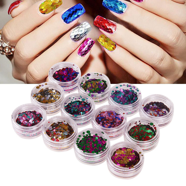 12 Colors Mixed Colorful Nail Glitter Sequins Decals Round Shiny ...