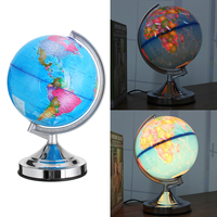 Home Office Desktop Decoration Globe World Map with Stand Map LED Light Earth Atlas Geography Toys School Educational Supplies