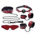 Ultimate 5 in 1 bdsm Bondage Kit Set Luxury Leather Fetish Bondage Restraints, Ball Gag Slave Collar Blindfold Cuffs Sex Toys