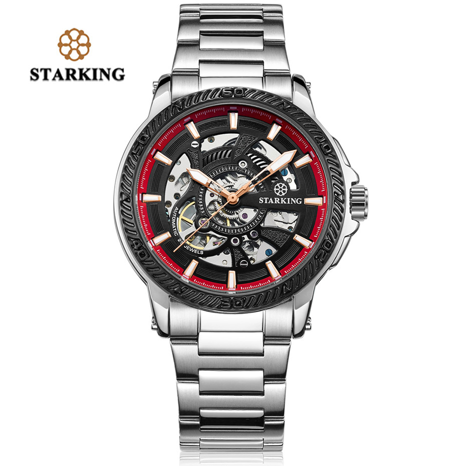 STARKING Automatic Mechanical Watch Men Stainless Steel Luminous Pointer Function Waterproof Male Watches Jewelry Clock Gift starking men black watches shock resistant stainless steel auto mechanical business male watch leather band waterproof relogio
