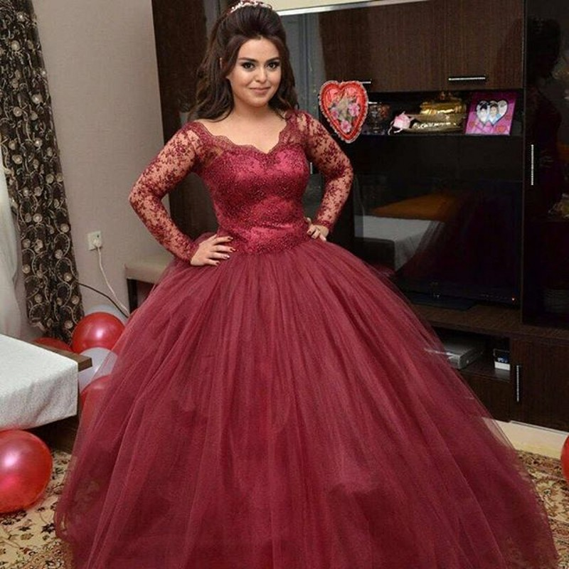 New Arrival Wedding Dress Lace Long Sleeve Ball Gowns Robe De Mariage Appliques Burgundy Tulle Bridal In Dresses From Weddings Events On