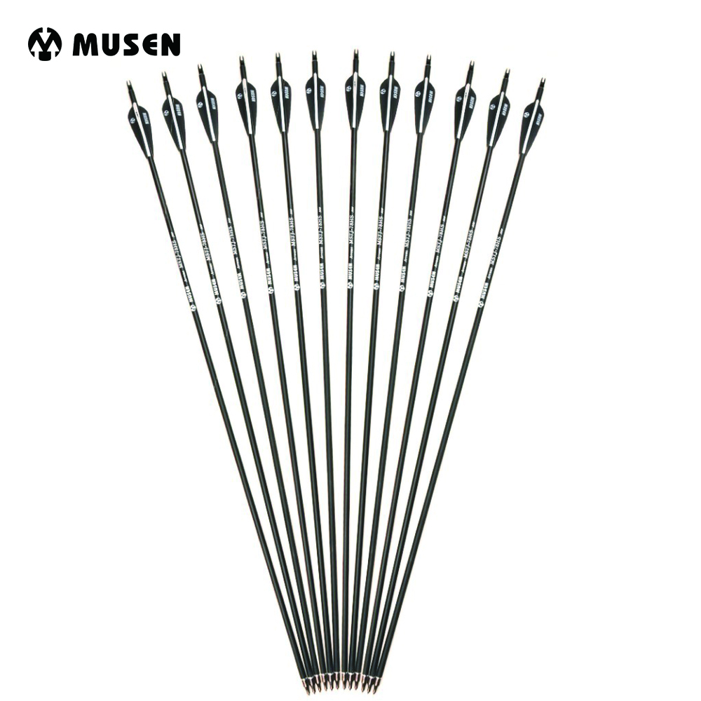 6/12/24pcs/lot 28/30/32 inches Spine 500 Carbon Arrow with Black and White Color for Recurve/Compound Bows Archery Hunting K(China)