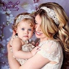 Nishine – bandeau assorti maman et moi 2 pouces, bandeau élastique en strass, à la Couture de luxe, couvre-chef maman et enfant