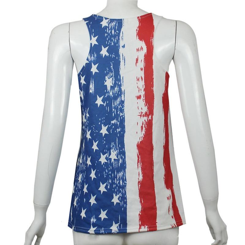 Susi&Rita Casual American Flag Print Tops Women Sexy Sleeveless Summr Top Tees 2018 Fitness Tank Top Femme Streetwear