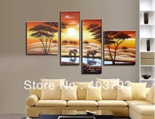 modern abstract fashion  oil painting on canvas Huage wall art sunset elephant drinking landscape free shipping