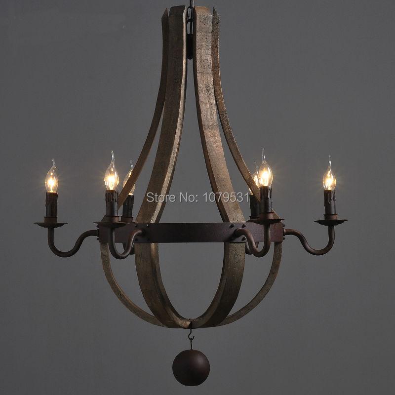 Европейская короткая винтажная деревянная Подвесная лампа бар ресторан дерево ведро Hanglamp деревня промышленные Дубовые бочки шесть рук люс...
