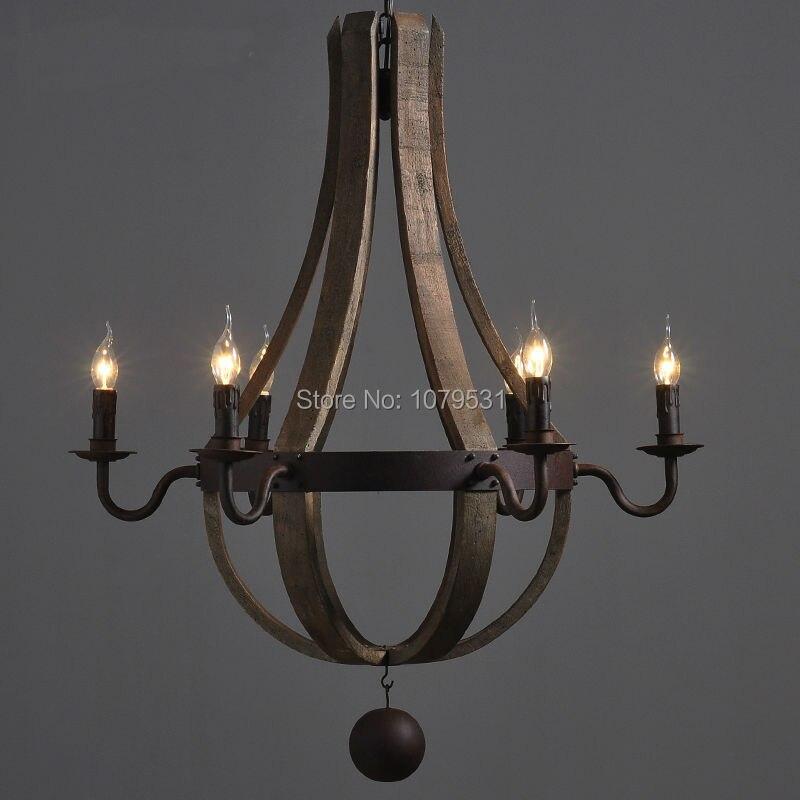 Européenne Bref Vintage Lampe à Suspension En Bois Bar Restaurant Bois Seau Hanglamp Village Industriel Fûts de Chêne Six Bras Lustre