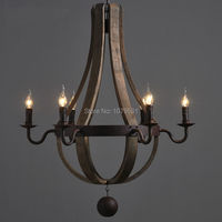 European Brief Vintage Wood Pendant Lamp Bar Restaurant Wood Bucket Hanglamp Village Industrial Oak Barrels Six Arms Chandelier