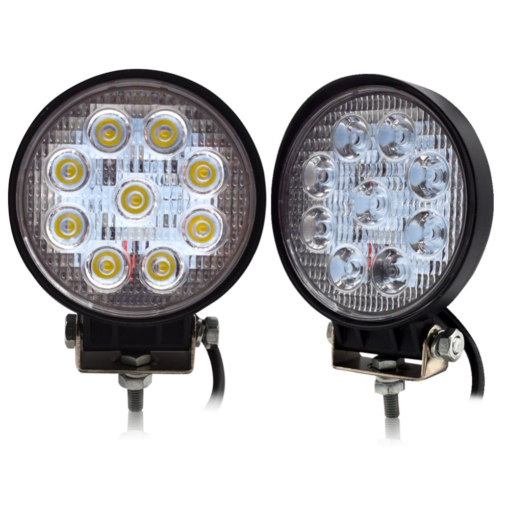 Safego 2pcs 4inch 27w led work light 12v offroad 4x4 car trucks flood spot beam 24v 27w led working lights auto fog driving lamp