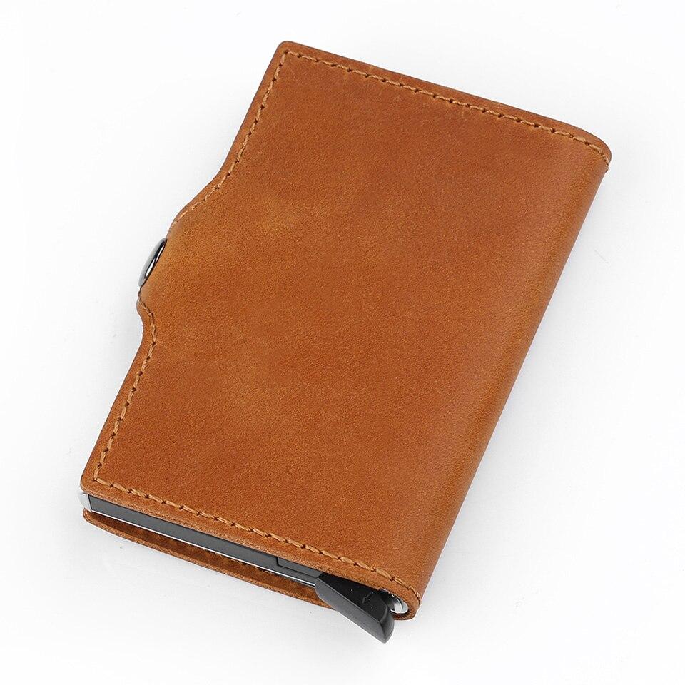 Antivol haute qualité hommes support de carte Rfid porte-carte de crédit en Aluminium avec Rfid bloquant Mini portefeuille en cuir véritable - 3