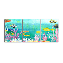 Laeacco Canvas Calligraphy Painting 3 Panel Underwater World Sea Fish Posters and Prints Wall Art Picture Home Living Room Decor