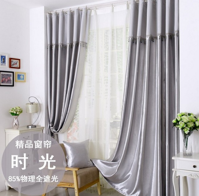 Curtains For Bedroom Living Room Processing Cost Included Silver Grey Modern Fabric Blackout Window Cortinas1821