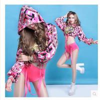 2018 rosa del manicotto del blocco allentato bar ds costumi hip-hop sfilata abiti sexy cantante palco Vestito vendita calda