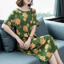 6xl 5xl Elegant Floral Dress For Woman Loose Short Sleeve Vestido Mujer 2019 Casual Mid-Calf Silk Dresses Plus Size Sundress(China)