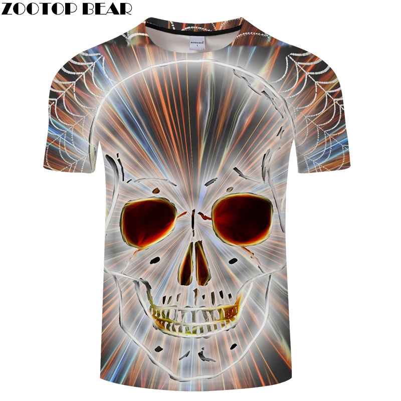 Shine Skull 3D Print t shirt Men Women tshirt Summer Funny Short Sleeve O-neck Tops&Tee Streetwear 2018 Drop Ship ZOOTOP BEAR