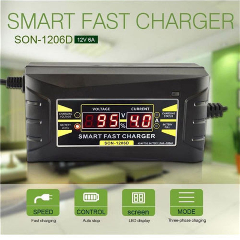 Full Automatic Car Battery Charger 110V to 220V 6A 12V Intelligent Fast Power Charging Wet Dry Lead Acid Digital LCD Display
