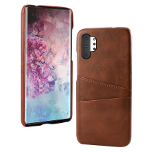 цены на for Samsung Note 10 Case Calf Grain PU Leather PC Back with 2 Card Slots Anti-Scratch Protective Cover for Galaxy Note 10 Plus  в интернет-магазинах
