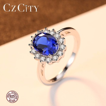 CZCITY Princess Diana William Kate Diamond Rings Sapphire Blue Wedding Engagement 925 Sterling Silver Finger Ring for Women