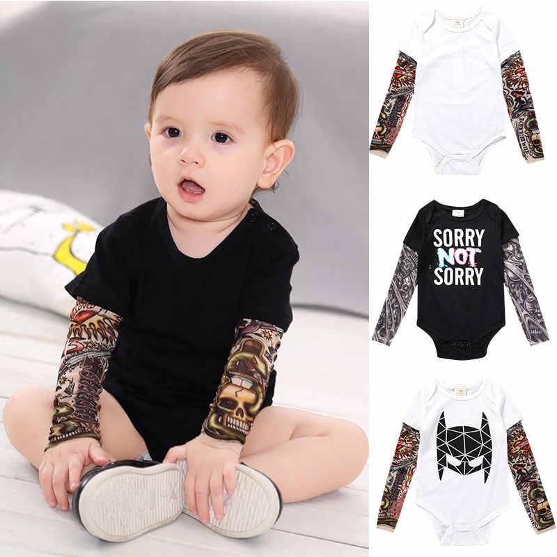 squarex 0-6 Years Baby Tops Newborn Baby Boy Tattoo Printed Long Sleeve Patchwork Romper Autumn Bodysuit Long Sleeve Autumn Winter Christmas Day Party Romper