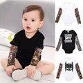 Модный Детский комбинезон для мальчиков с длинным рукавом и тату-принтом, детская одежда для мальчиков в стиле рок, комбинезон, комплект оде...