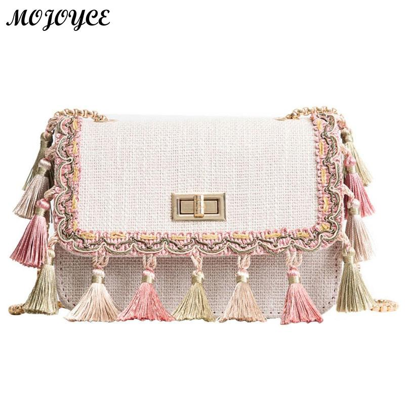 Women Elegant Tassel Cloth Messenger Bag Flap Chain Strap Small Square Bags Shoulder Ladies Crossbody Fashion Handbag Bolsa
