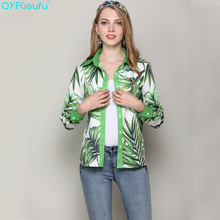 QYFCIOUFU High Quality Womens Long Sleeve Blouse Summer Casual Runway Beading Maple Leaves Printed Fashion Green Shirts