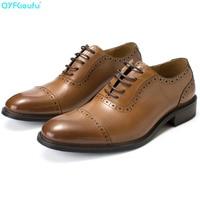 QYFCIOUFU High Quality Men Business Dress Suit Shoes Men Brand Bullock Genuine Leather Black Lace Up Wedding Mens Shoes