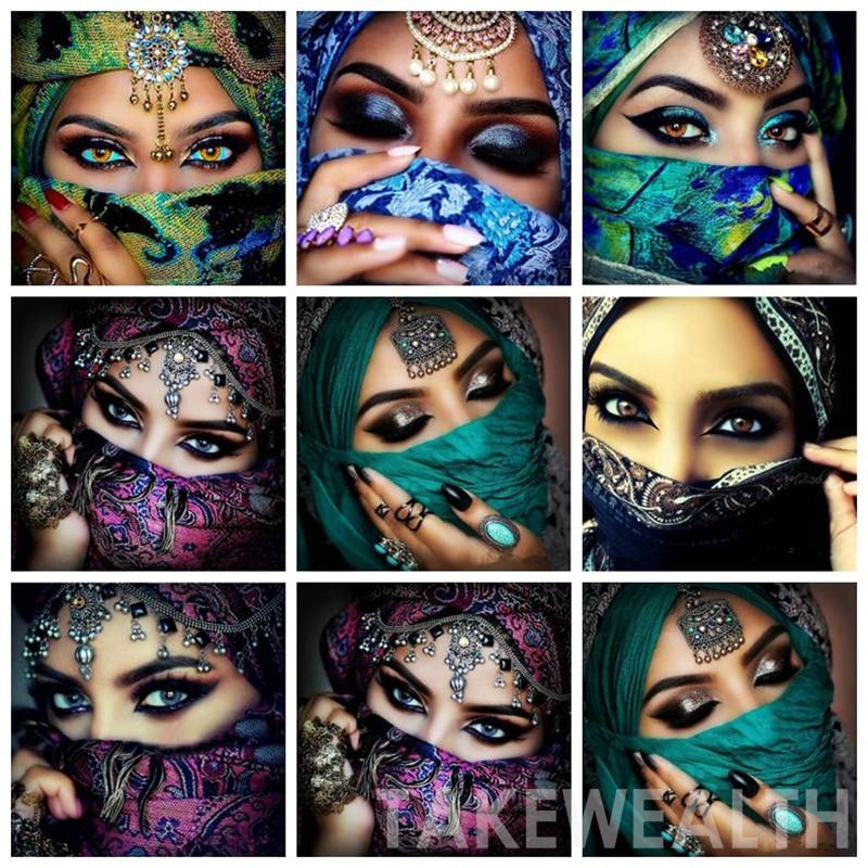 5d Kareyuvarlak Diy Elmas Boyama Maskeli Güzellik Gözler çapraz