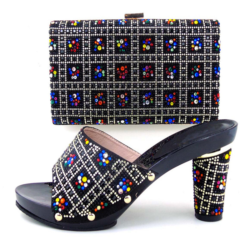 ФОТО New Coming Matching Shoes And Bag Set Italy Type For African Women Good Quality For Wedding Or Party!balck Color! WDL1-1
