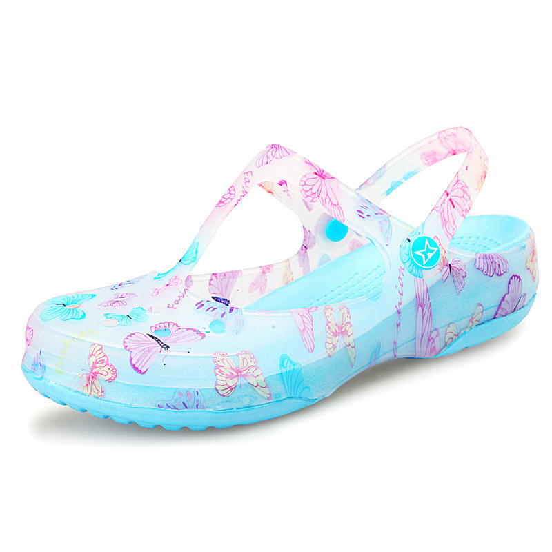 Jelly Shoes Women Sandals Summer Beach Shoes Flat Print Ladies Sandals free shipping candy color women garden shoes breathable women beach shoes hsa21