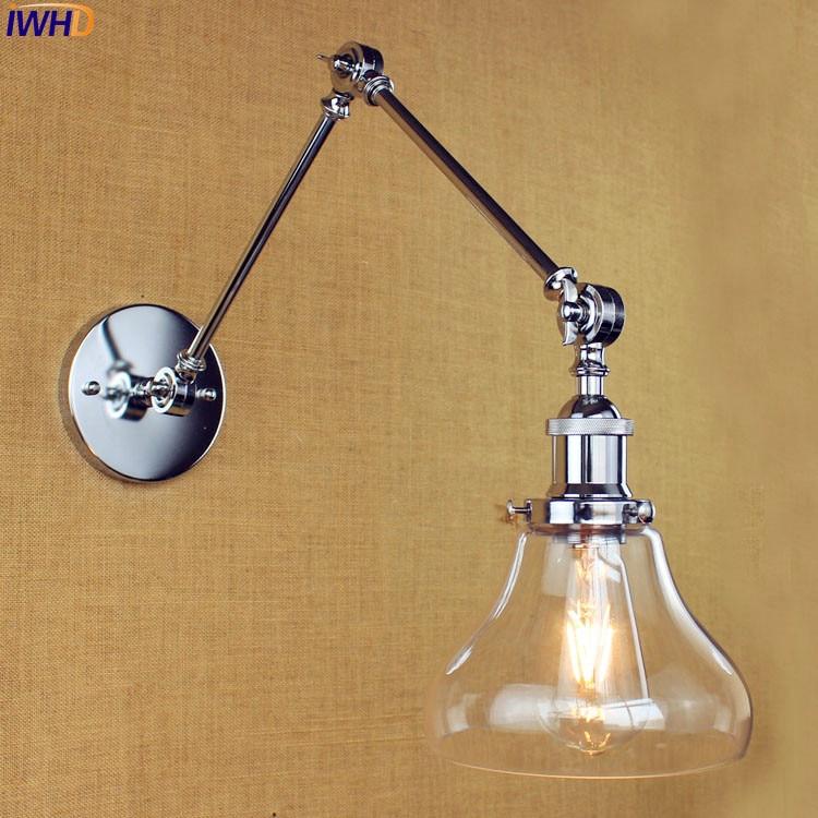 Фотография IWHD Antique Glass Vintage Wall Lamp Bedroom Bathroom Industrial Swing Long Arm Wall Light Edison Wandlamp LED Stair Lights
