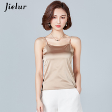 18dd6b9de3f30 Jielur Women Camis Silk Halter Top Solid Color Sleeveless Summer New Vest  Candy Colors Plus Size